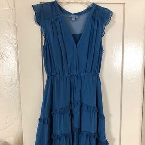 Anthropologie Blue Silk Dress Sz 8